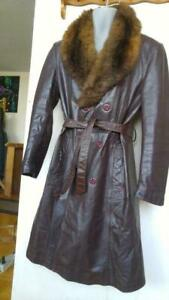Oakville MENS 42 Slim L VINTAGE LEATHER  AUSTRALIAN POSSUM FUR COAT Leather Attic Large Reg Brown Jacket COWHIDE Thick