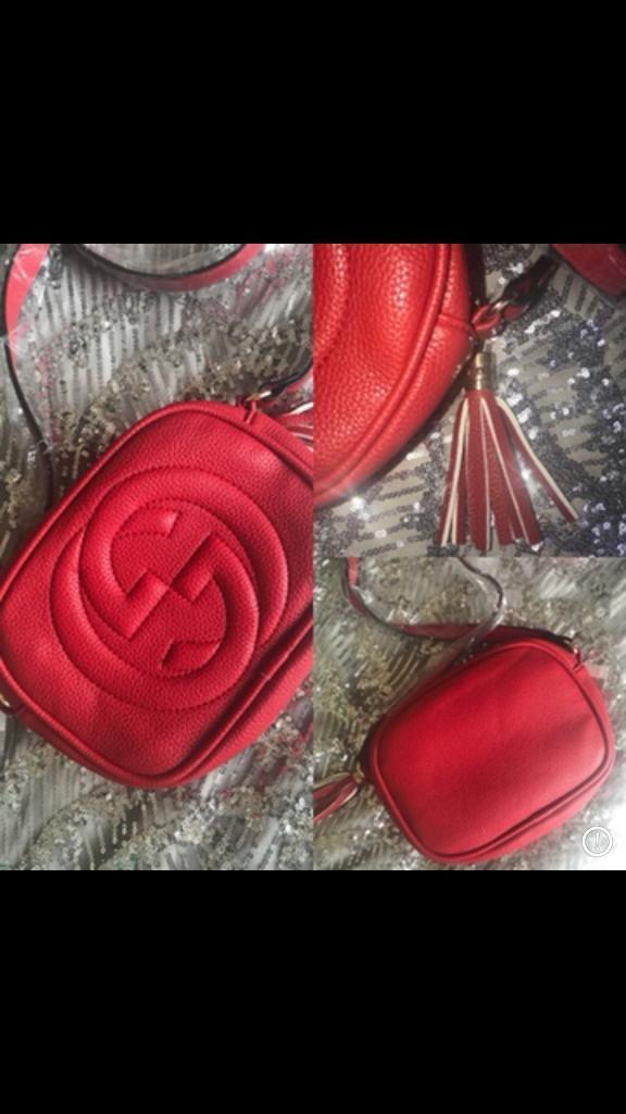 Women s GG Disco Soho Handbag Logo Red Shoulder Bag BNWT UK 2e1bdc2df8739
