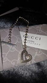 Gucci T bar silver stunning heart braclet.