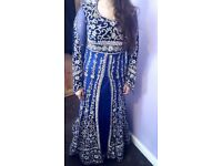 BEAUTIFUL ROYAL BLUE AND SILVER ASIAN WEDDING DRESS