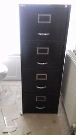 Desk with green leatherette top and 8 drawers and green 4 drawer filing cabinet