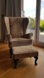 High backed Queen Anne chair and adjustable footstool