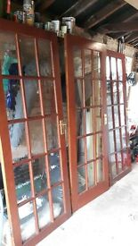6 Internal Wood Doors, 3 with glass / 3 solid doors with handles, latches & hinges