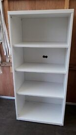 White shelves with backing.