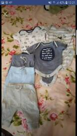 Bodysuits and joggers set. 0 - 3 months.