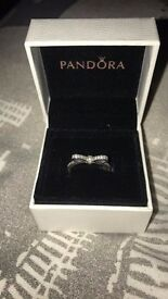 Pandora delicate bow ring, perfect condition, size 52
