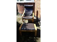 Ikea Poang Chair and Footrest - Leather