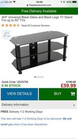 Large black and chrome glass tv stand