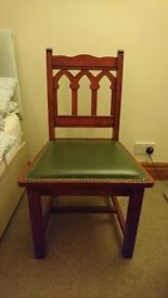 Reclaimed Church chair in mahogany and green leather