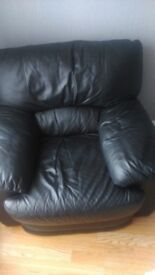 real leather black armchair, love seat