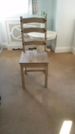 6 Waxed pine dining chairs
