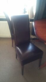 FOUR QUALITY LEATHER DINING CHAIRS