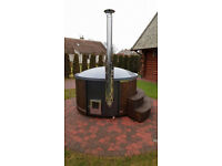 Wooden wood fired fiberglass hot tub spa jakuzzi with free lid 5-7 seater