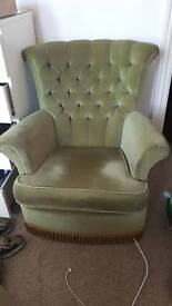Green velvet boudoir chair