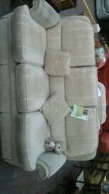 Cream 3 seater sofa with matching chair