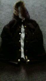 Girls black parka coat