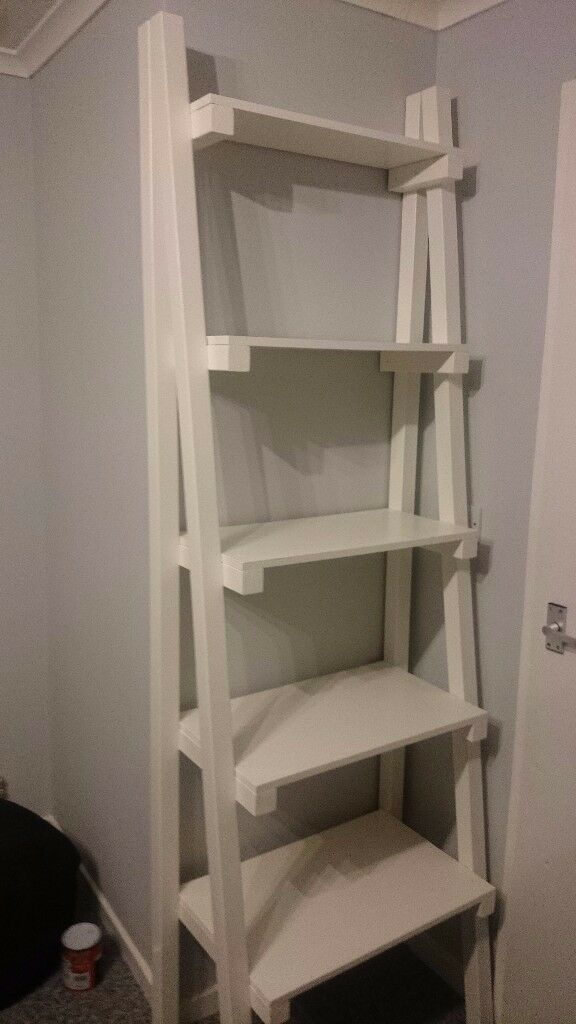 Wood Ladder Shelf Unit In White