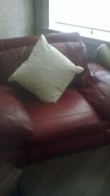 red 2 seater sofa with armchair