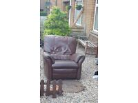 Brown leather corner sofa and electric recliner chair