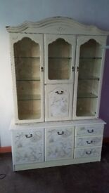 Large old style upcycled display cabinet and base = see photos