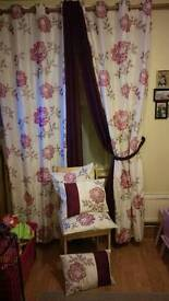 Dunelm faux silk floral curtains voiles tie backs and cushion covers