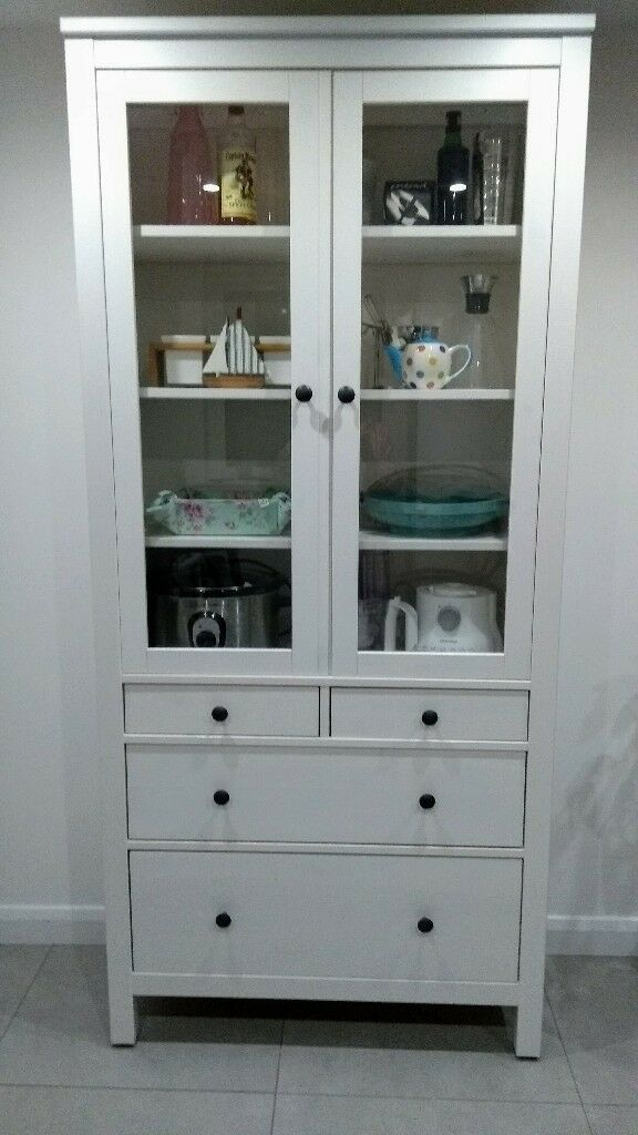 IKEA HEMNES Glass-door cabinet with drawers in white | in ...