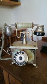 Antique brass and marble telephone