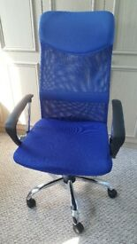 Blue office swivel chair with mesh back