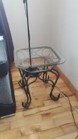 Small glass and iron table