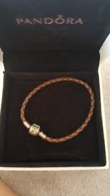Pandora brown leather bracelet
