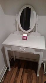 White Bedside Dressing Table with Oval Mirror