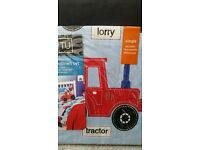 Boys construction bed linen. single bed, includes one pillowcase and duvet cover.