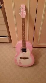 MARTIN SMITH W-390-CB PINK ACOUSTIC GUITAR FULL SIZE GOOD CONDITION