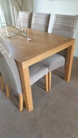 Oak dining table & 6 fabric chairs