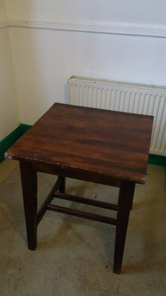 Dark wood two seat dining table / desk - very nice - 70x69cm top, 77cm high