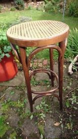 Unusual Tall Bentwood Stool with Rattan Seat