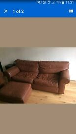 sofa M&S brown leather