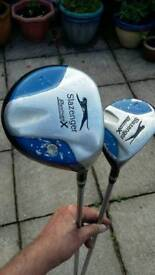 2 Slazenger ladies drivers with carbon shaft.