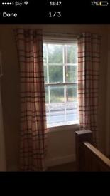 Checked red curtains