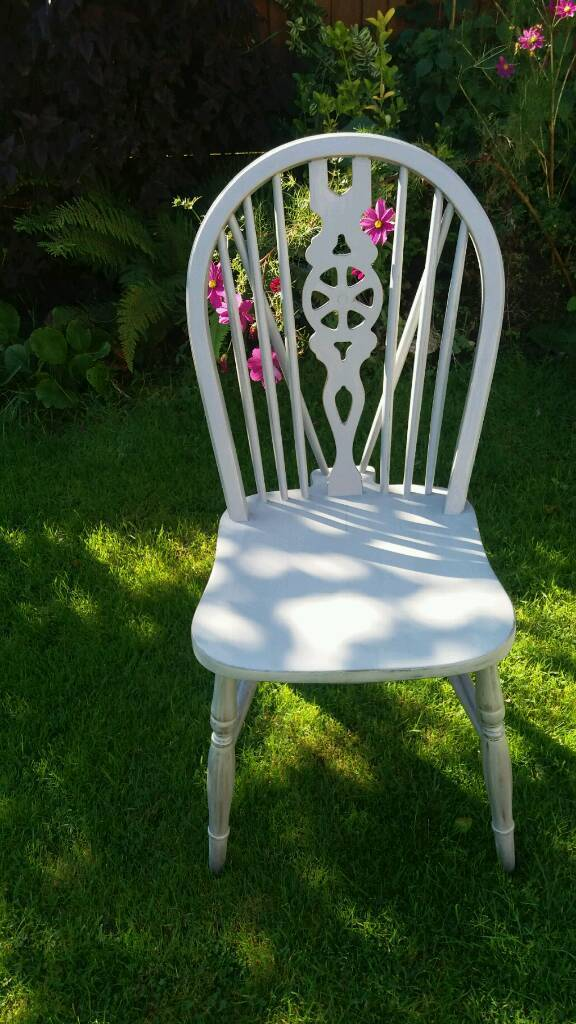 Handpainted chairin Bournemouth, DorsetGumtree - Beautiful handpainted chair. Silver base coating with white chalk finish. Slightly distressed