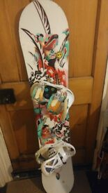 Womens Snowboard, Burton Lexa Bindings and Nike Snowboots