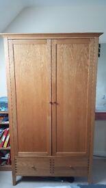 Solid Oak Wardrobe & (Optional) 2 Triple Bedside Chest of Drawers