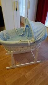 blue wicker moses basket