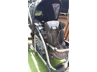 Double pram with 2 car seats & bases