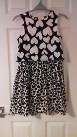 M&S Love heart girls dress