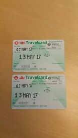 London Travelcards x 2 - 7 Day - Zones 1 & 2 - Start 07 May 2017