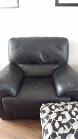 Black leather sofa and chair only six months old as new condition. Purchase paperwork can be seen.