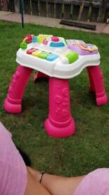 Girls pink vtech activity table