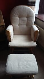 Rocking / Nursery chair with footstool