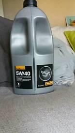 5W/40 synthetic oil- half full